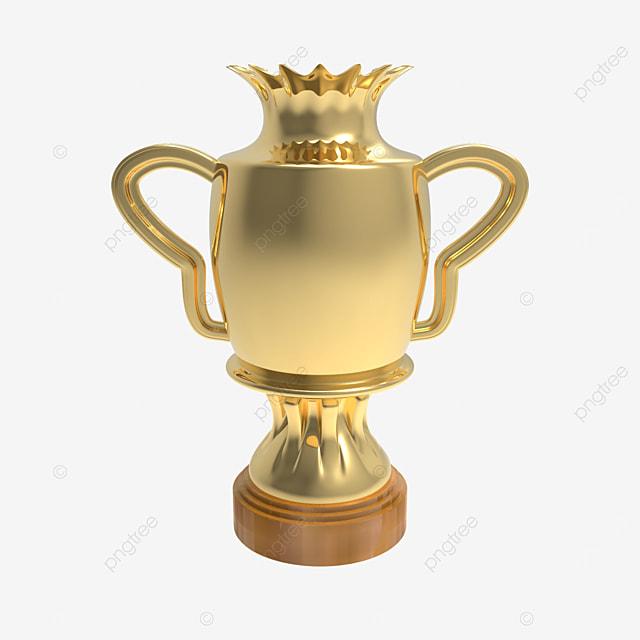 3d render golden crown trophy