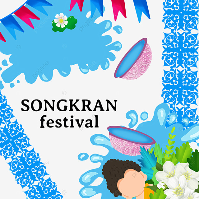 cartoon thai songkran blue retro pattern border
