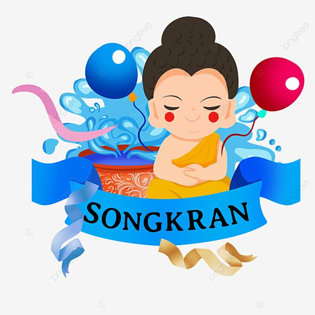 cartoon thai songkran festival balloons and cute characters