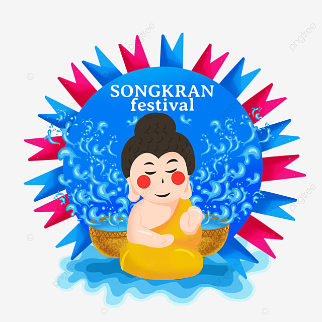 cartoon thai songkran festival characters and abstract watermark label background