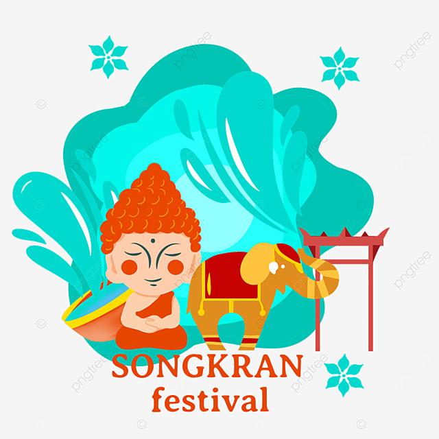 cartoon thai songkran festival characters and elephant illustration