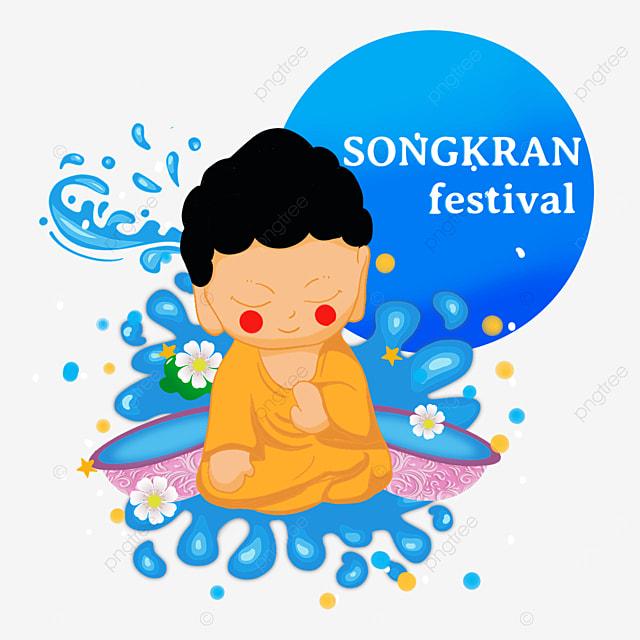 cartoon thai songkran festival cute buddhist characters