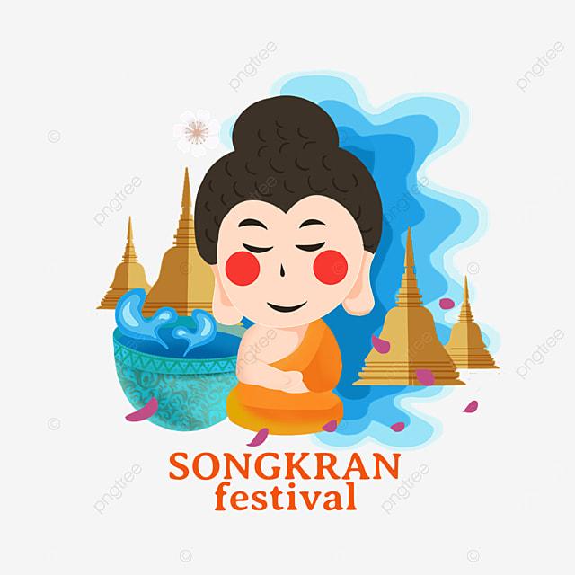 cartoon thai songkran festival flat abstract characters and pagoda