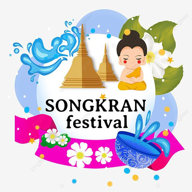 cartoon thai songkran festival flat wind stupa and characters