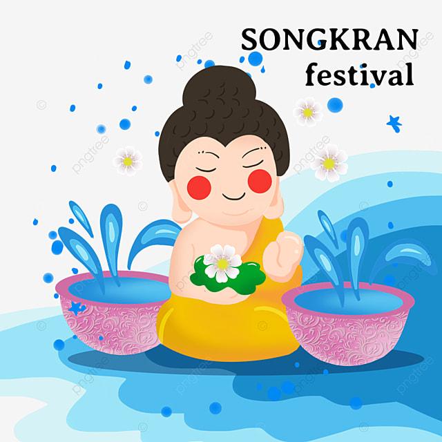 cartoon thai songkran festival retro water basin and characters