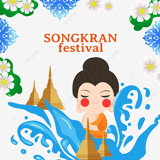 cartoon thailand songkran festival abstract splash flower border