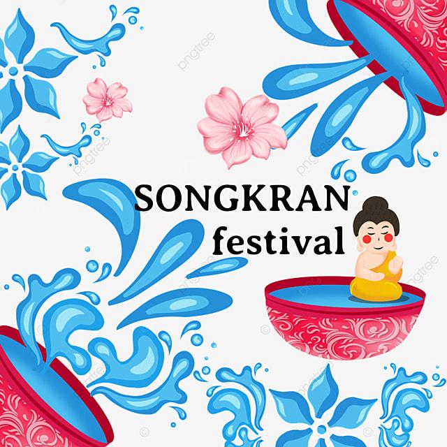 cartoon thailand songkran festival abstract water texture pattern