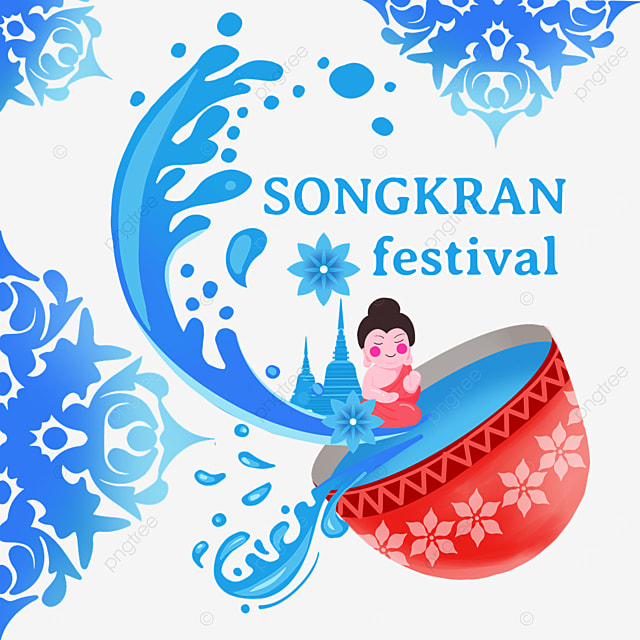 cartoon thailand songkran festival abstract waves and characters