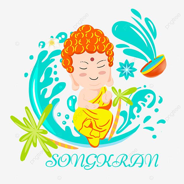 cartoon thailand songkran festival coconut tree and character illustration