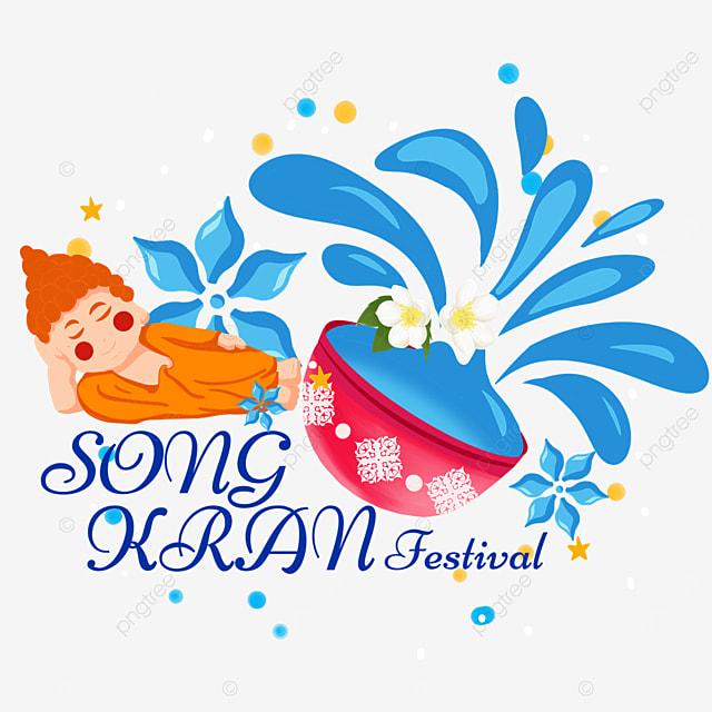 cartoon thailand songkran festival prone figure and abstract splash