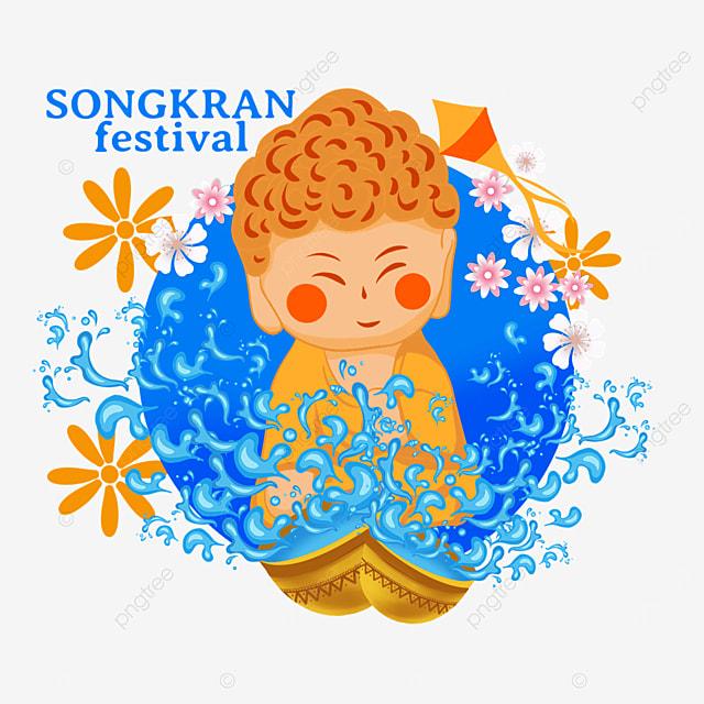 cartoon thailand songkran festival retro buddhist character illustration