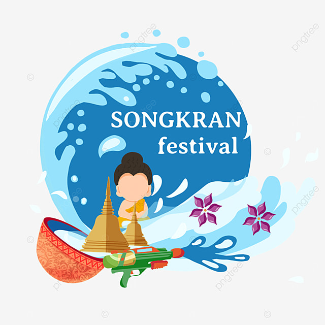 cartoon thailand songkran festival stupa and character illustration