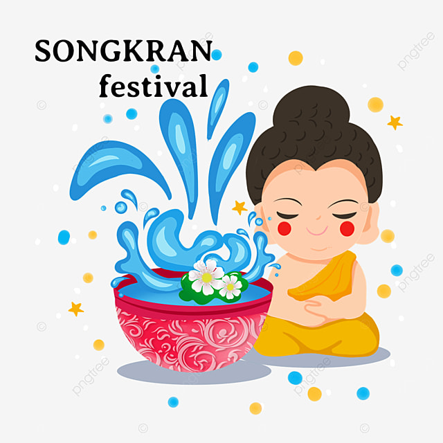 cartoon thailand songkran festival with eyes closed and abstract waves
