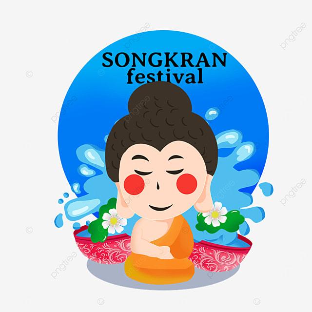 cartoon thailand songkran water basin spray and characters