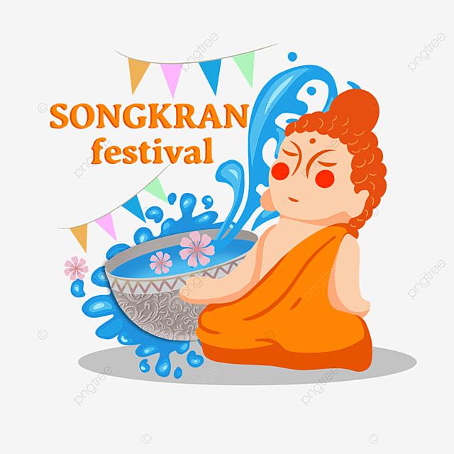 cute cartoon thai songkran festival characters
