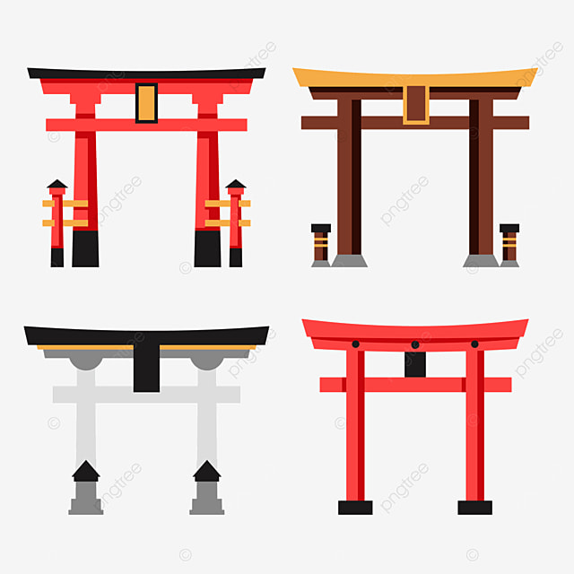 flat style japanese architecture torii decorated with plaque