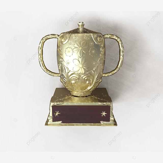 golden 3d trophy for competition award