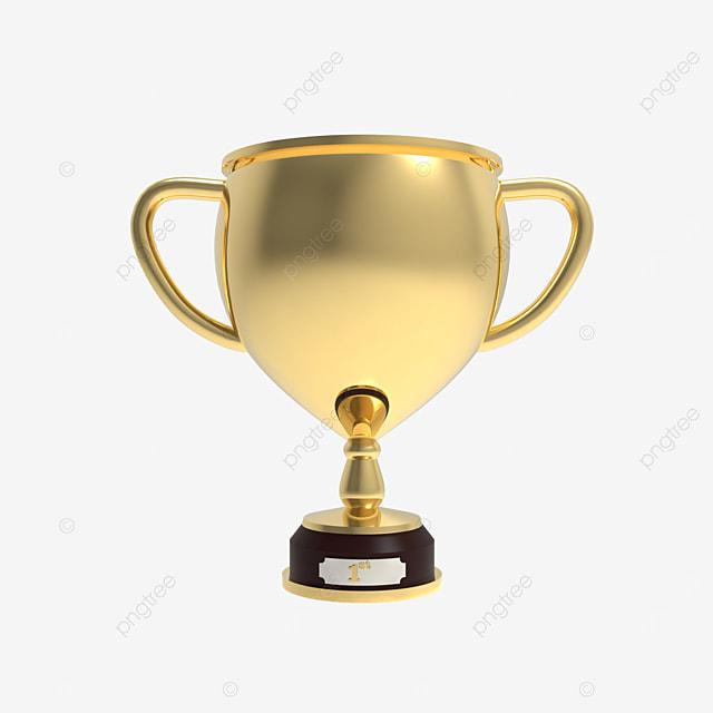 golden trophy 3d render