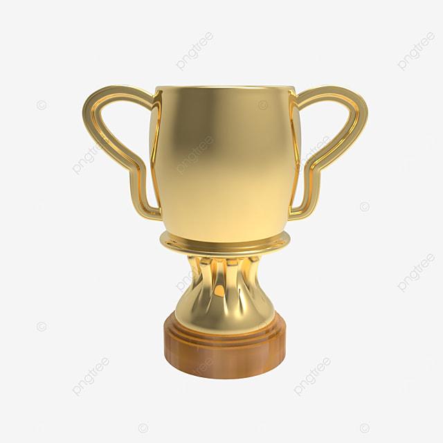 golden trophy cup 3d render