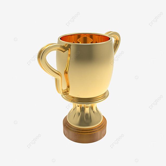 golden trophy cup 3d render side view