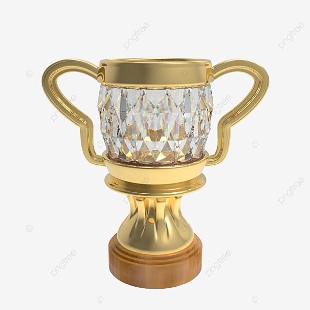 golden trophy with diamond 3d render