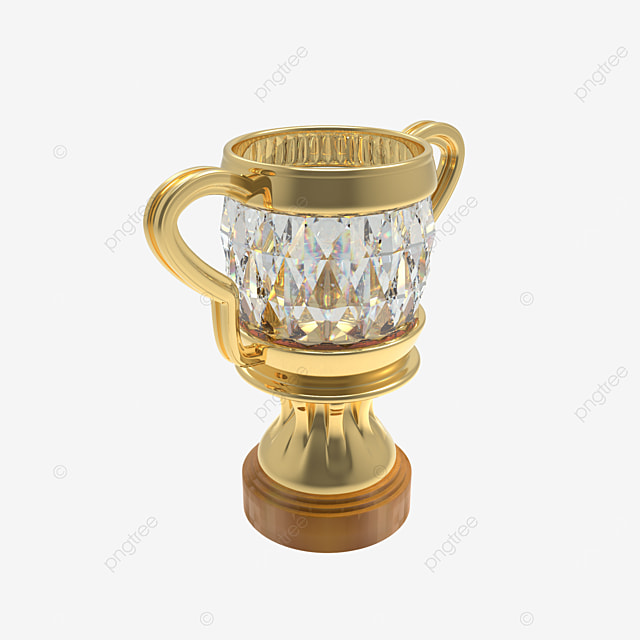 golden trophy with diamond 3d render side view