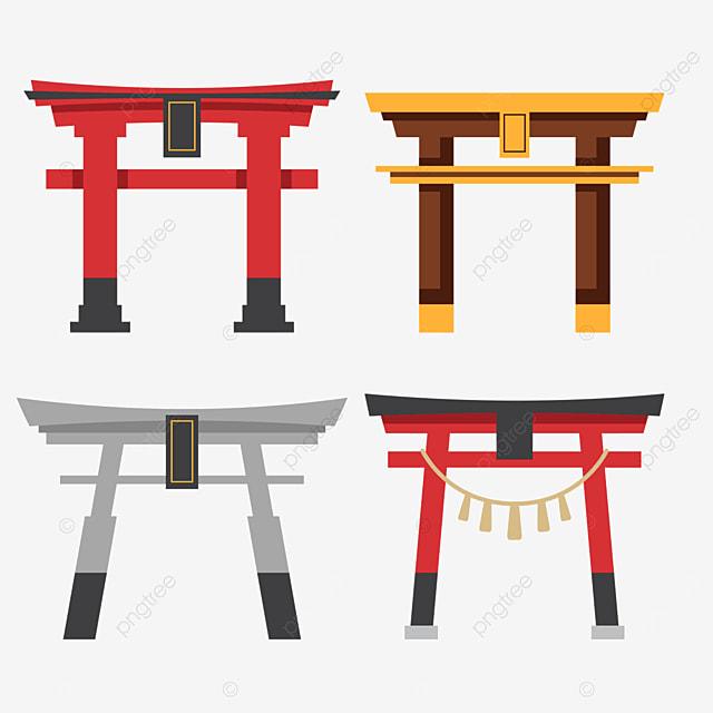 japanese architecture torii flat style illustration combination