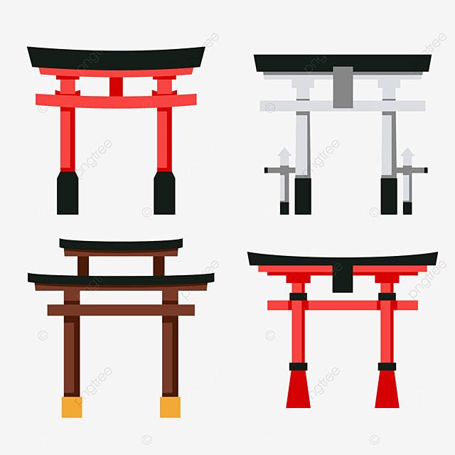 minimalist flat texture japanese architecture torii