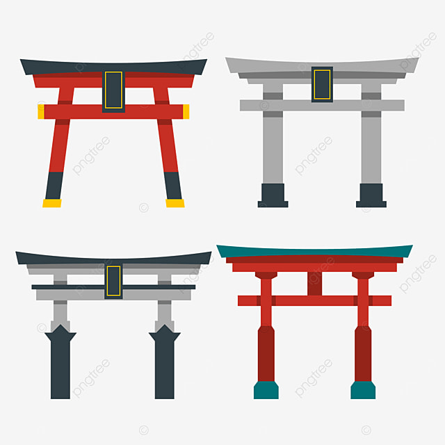 red and gray retro style japanese building torii