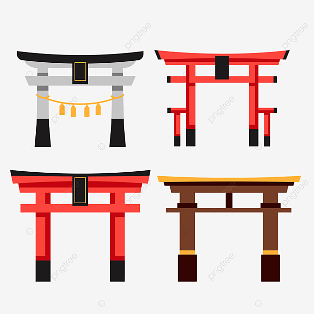 red gray and brown flat style japanese architecture torii combination