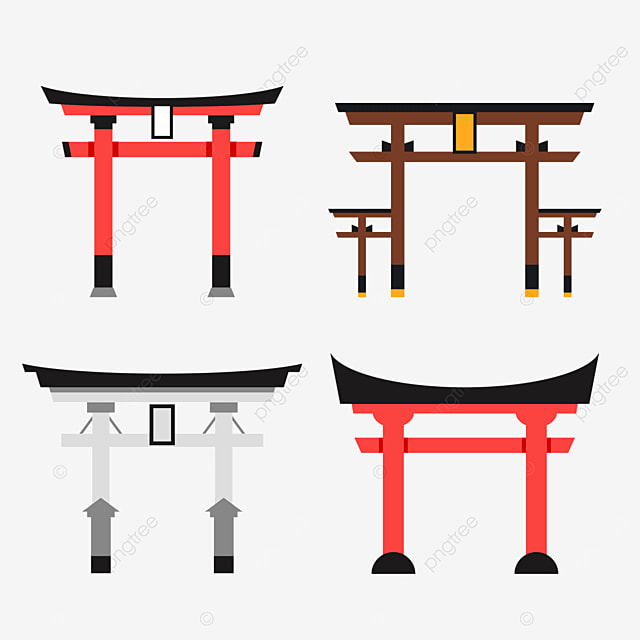red japanese building torii with flat wind and plaque