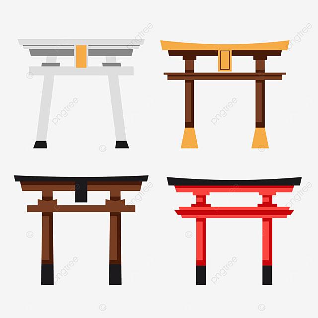 retro flat style japanese architecture torii