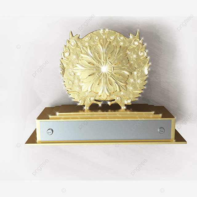 shiny golden 3d trophy with transparent background
