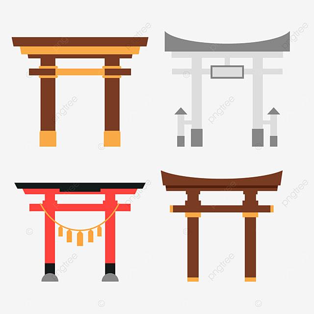 simple japanese architecture shrine torii combination