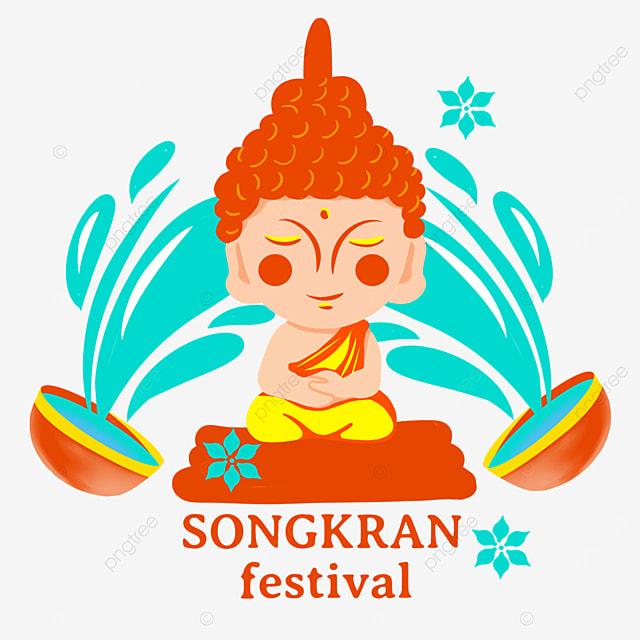 thai songkran festival cartoon style buddhist characters