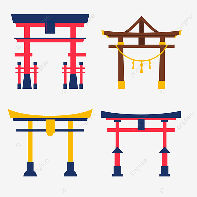 yellow and red japanese architecture torii combination