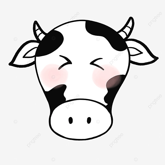 black and white cow cow face clipart