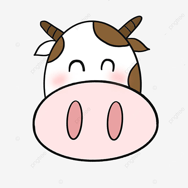 brown smiling cow face clipart