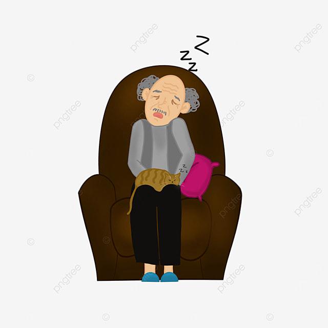 elderly people sleeping on sofa lazy clipart