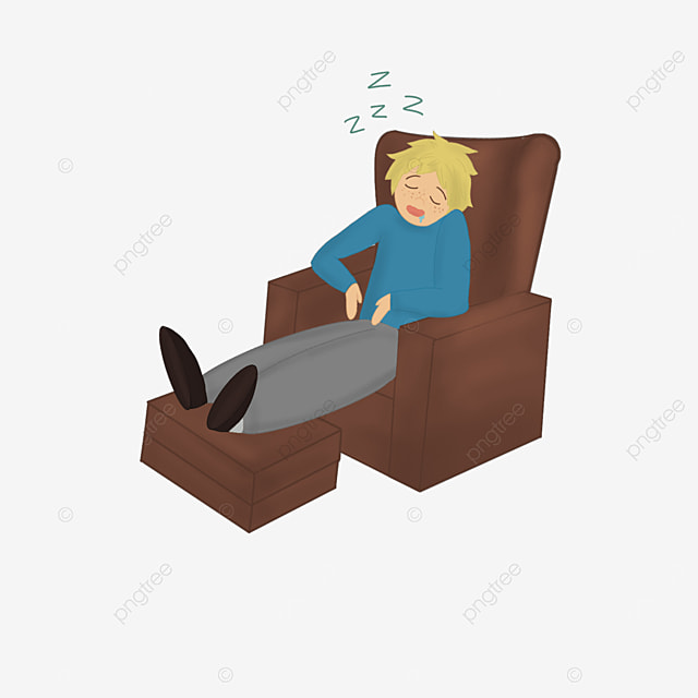 young man collapsed on sofa sleeping lazy clipart