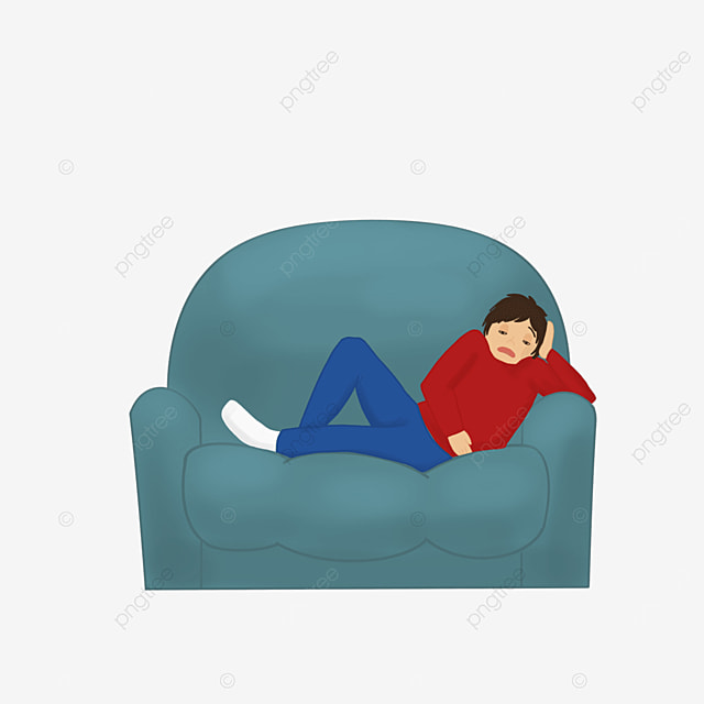 young people slumped on sofa lazy clipart
