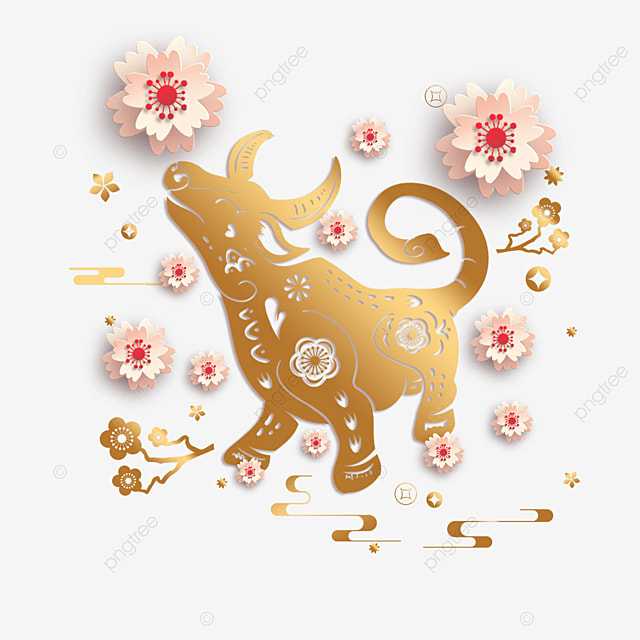 chinese new year golden paper cut cow