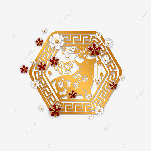 chinese new year paper cut golden cow