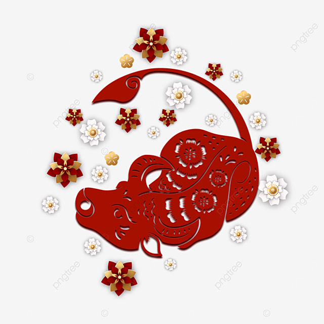 chinese new year paper cut red cow
