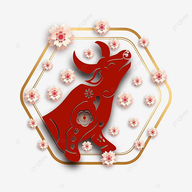 chinese new year paper cut red plum cow