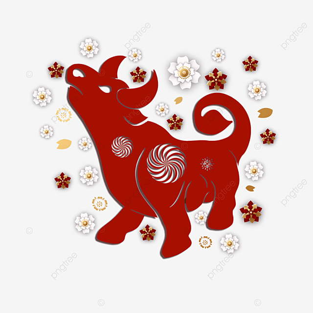 chinese new year red paper cut cow