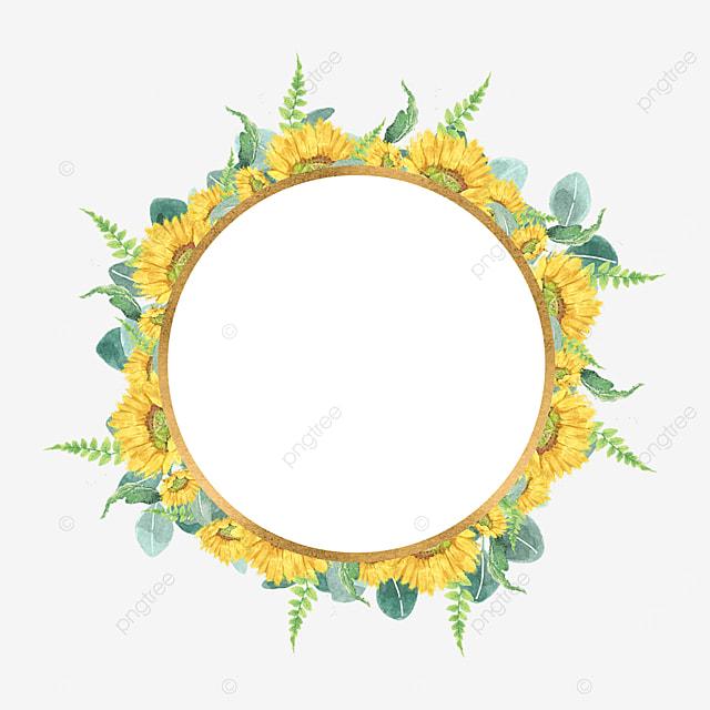 floral round border sunflower