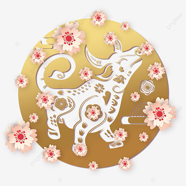 happy chinese new year golden cow