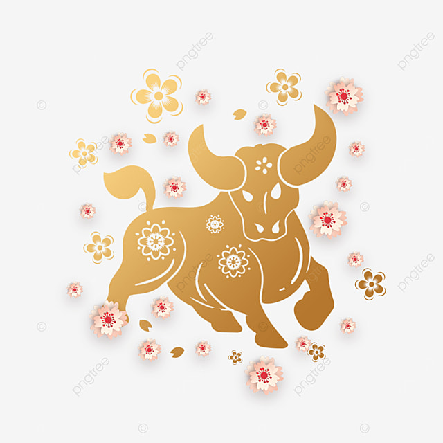 happy chinese new year paper cut cow