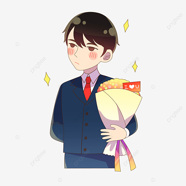 japanese boy holding flowers for valentines day